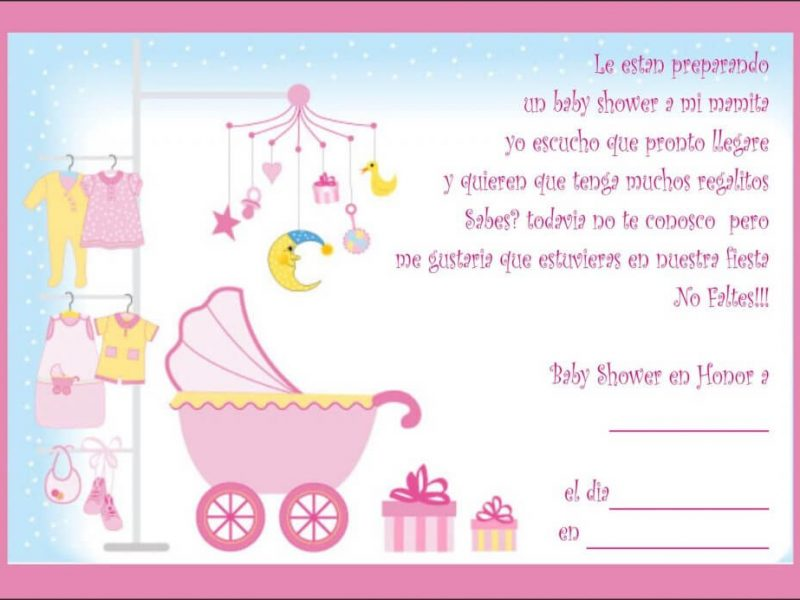 Invitaciones de Baby Shower Cuna Rosa